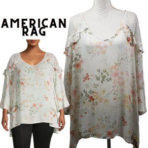 American Rag Plus Floral & Lace Bell-Sleeve Top 1X